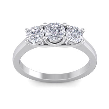1 1/2ct Three Diamond Ring in 14k White Gold. Priced Below Cost!