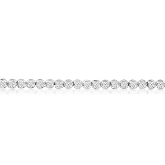 8 Inch, 2 1/4ct Round Based Diamond Tennis Bracelet in 14k White Gold