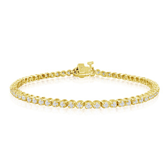 8 Inch, 2 1/4ct Round Based Diamond Tennis Bracelet in 14k YG