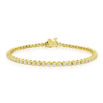 2 1/2 Carat Diamond Tennis Bracelet In 14 Karat Yellow Gold, 9 Inches