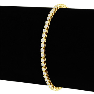 9 Inch, 2 1/2ct Round Based Diamond Tennis Bracelet in 14k YG