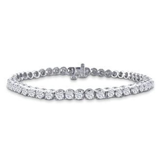 9 Inch, 3 3/4ct Round Based Diamond Tennis Bracelet in 14k White Gold