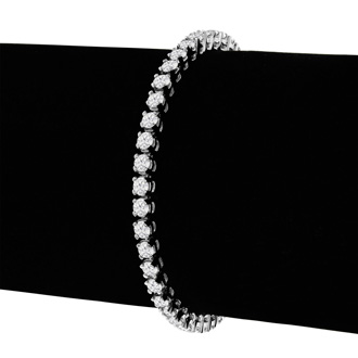 6 1/4 Carat Diamond Tennis Bracelet In 14 Karat White Gold, 9 Inches