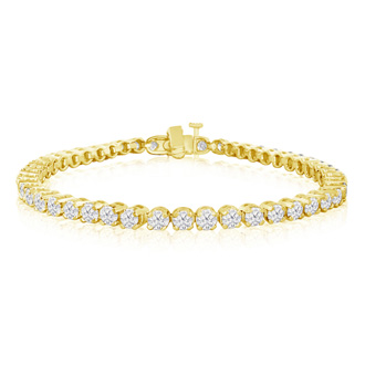 9 Inch, 6 1/4ct Round Based Diamond Tennis Bracelet in 14k YG