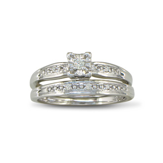 Simple Diamond Bridal Set in Sterling Silver