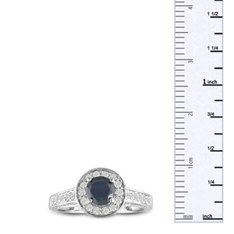 1 Carat Pave Halo Black Diamond Engagement Ring in 14k White Gold