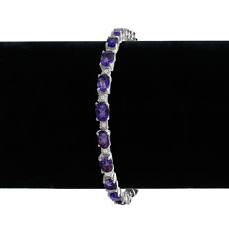 10ct Amethyst and Diamond Bracelet