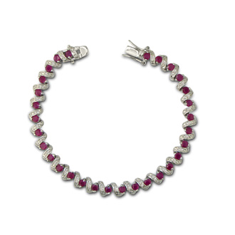 5ct Ruby and Diamond Bracelet in Sterling Silver