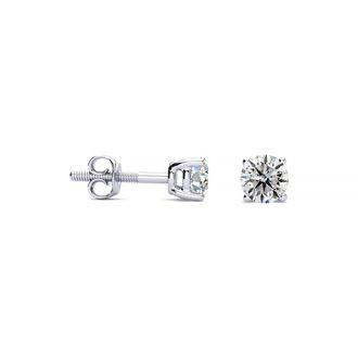 1/4 Carat Diamond Stud Earrings In 14 Karat White Gold