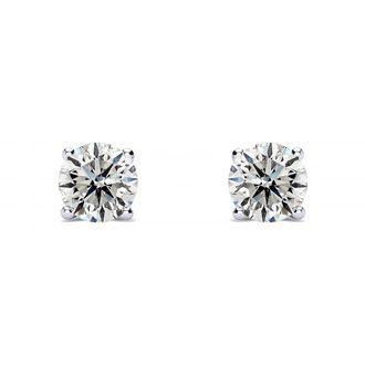 1/4ct Diamond Stud Earrings In 14k White Gold, G/H, I2