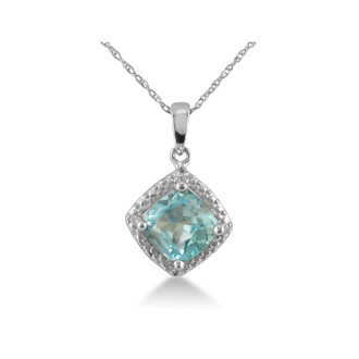 1 1/2ct Blue Topaz and Diamond Cushion Cut Pendant