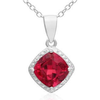 1.5ct Cushion Cut Created Ruby and Diamond Necklace