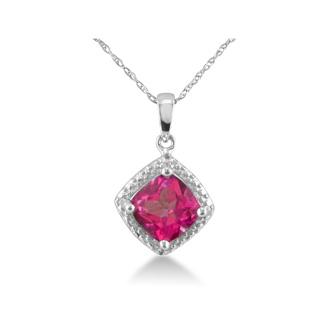 1 1/2ct Pink Topaz and Diamond Cushion Cut Pendant
