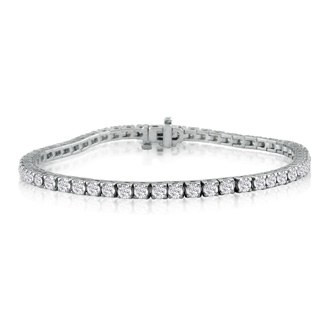 5 1/2 Carat Diamond Tennis Bracelet In 14 Karat White Gold, 7 1/2 Inches