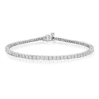 8.5 Inch 10K White Gold 2 3/8 Carat Diamond Tennis Bracelet