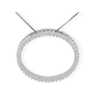 Popular 1/4ct Circle Style Diamond Pendant in 10k White Gold