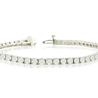 9 1/7 Carat Diamond Tennis Bracelet In 14 Karat White Gold, 8 Inches