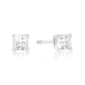 1/4ct Princess Cut Diamond Stud Earrings In 14k White Gold, G/H, SI