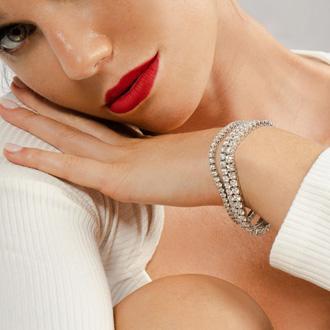 7.5 Inch 14K White Gold 8 2/3 Carat TDW Round Diamond Tennis Bracelet (J-K, I2-I3)