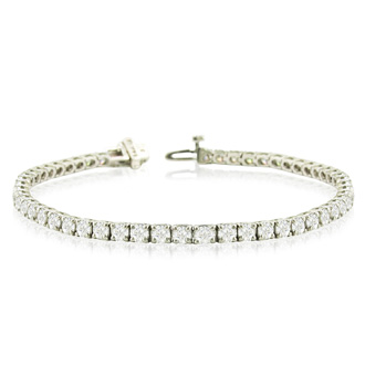 6 7/8 Carat Round Diamond Tennis Bracelet In 14 Karat White Gold, 6 Inches