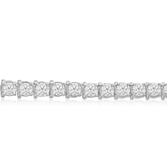 6 Inch 14K White Gold 8 Carat TDW Round Diamond Tennis Bracelet (J-K, I2-I3)