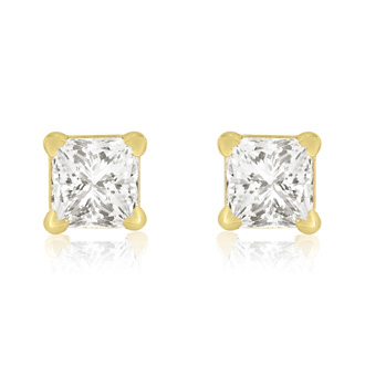1/4ct Princess Cut Diamond Stud Earrings In 14k Yellow Gold