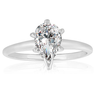 1ct Pear Diamond Solitaire Ring in 14k White Gold