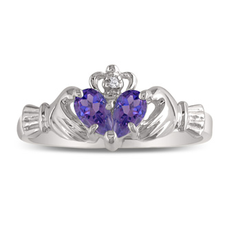 Amethyst Claddagh Ring in 10k White Gold