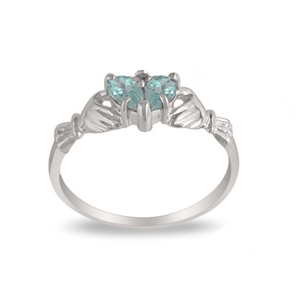 Aquamarine Claddagh Ring in 10k White Gold