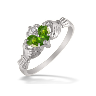 Peridot Claddaugh Ring in 10k White Gold