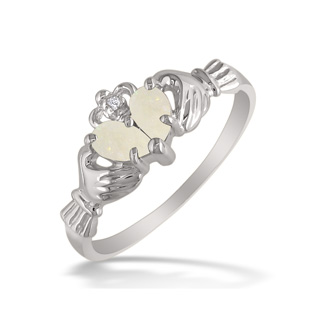 Opal Claddagh Ring in 10k White Gold