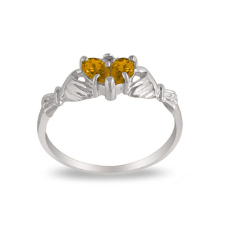 Citrine Claddaugh Ring in 10k White Gold