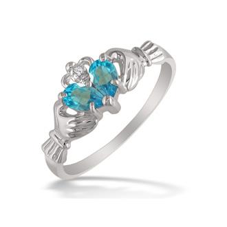 Blue Topaz  Claddagh Ring in 10k White Gold