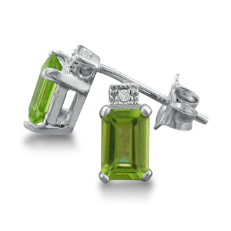 1 1/2ct Emerald Cut Peridot and Diamond Earrings in Sterling Silver