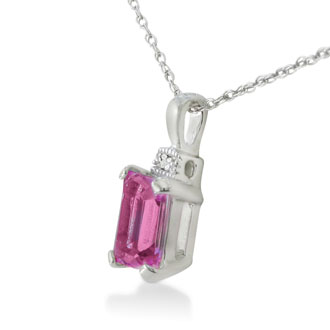 1ct Pink Topaz and Diamond Emerald Cut Pendant in Sterling Silver