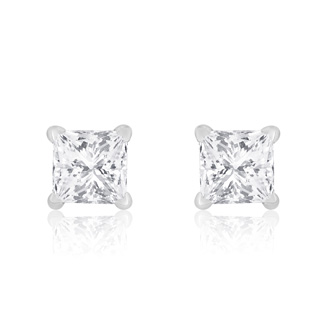 1/2ct Princess Diamond Stud Earrings In 14k White Gold, G/H, SI