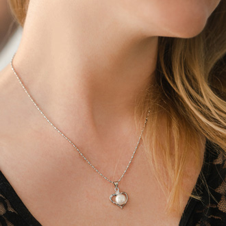Pretty Heart Necklace and Earrings Set Featuring Wonderful White Pearls!  She Will Love It!