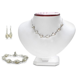 Unusual Freshwater Pearl Set, Necklace, Bracelet and Earrings