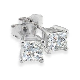3/4ct Princess Diamond Stud Earrings In 14k White Gold, G/H, SI