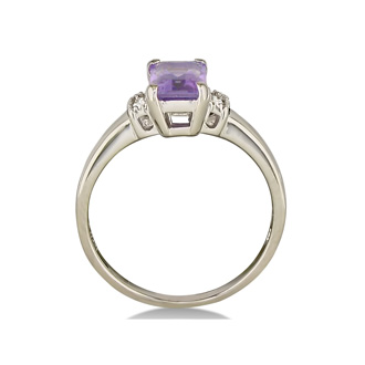 1 3/4ct Emerald Cut Amethyst and Diamond Ring in Sterling Silver