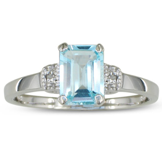 1ct Emerald Cut Blue Topaz and Diamond Ring in Sterling Silver