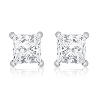 1ct Princess Diamond Stud Earrings In 14k White Gold, G/H, SI