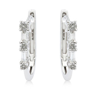 1/5ct Baguette Diamond Earrings in 10k White Gold