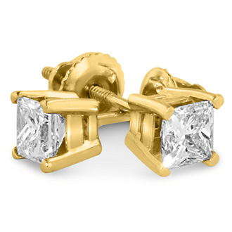 1 1/4ct Princess Diamond Stud Earrings In 14k Yellow Gold, G/H, SI