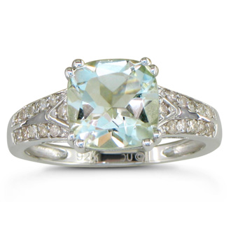 2 3/4ct Diamond and Green Amethyst Ring, Sterling Silver