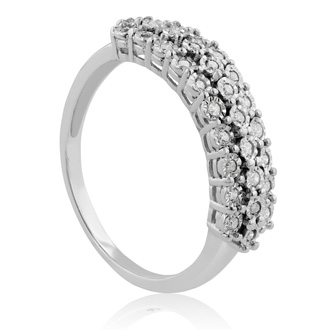 Diamond Right Hand Ring in Solid Sterling Silver