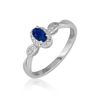 1/2ct Sapphire and Diamond Ring in Sterling Silver in All Sizes