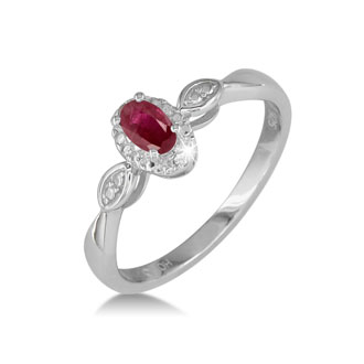 1/2ct Ruby and Diamond Ring in Sterling Silver in All Sizes