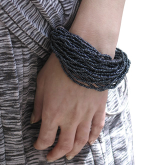 Italian Black Glass Seed 30 Strand Bracelet, Balinese Toggle Clasp