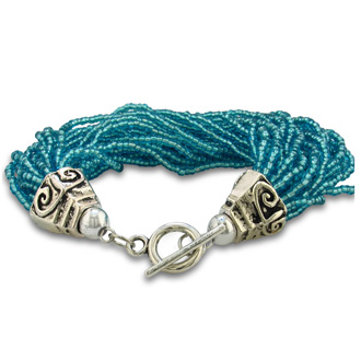 Italian Blue Glass Seed 30 Strand Bracelet with Balinese Toggle Clasp